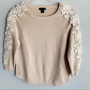 J. Crew Collection Flower Sleeve Sweater